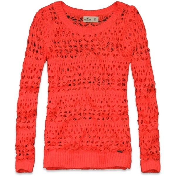 Hollister Co Orange County Sweater ($20) ❤ liked on Polyvore featuring tops, sweaters, hollister, orange sweater, hollister co., textured sweater, red sweater and relaxed fit tops