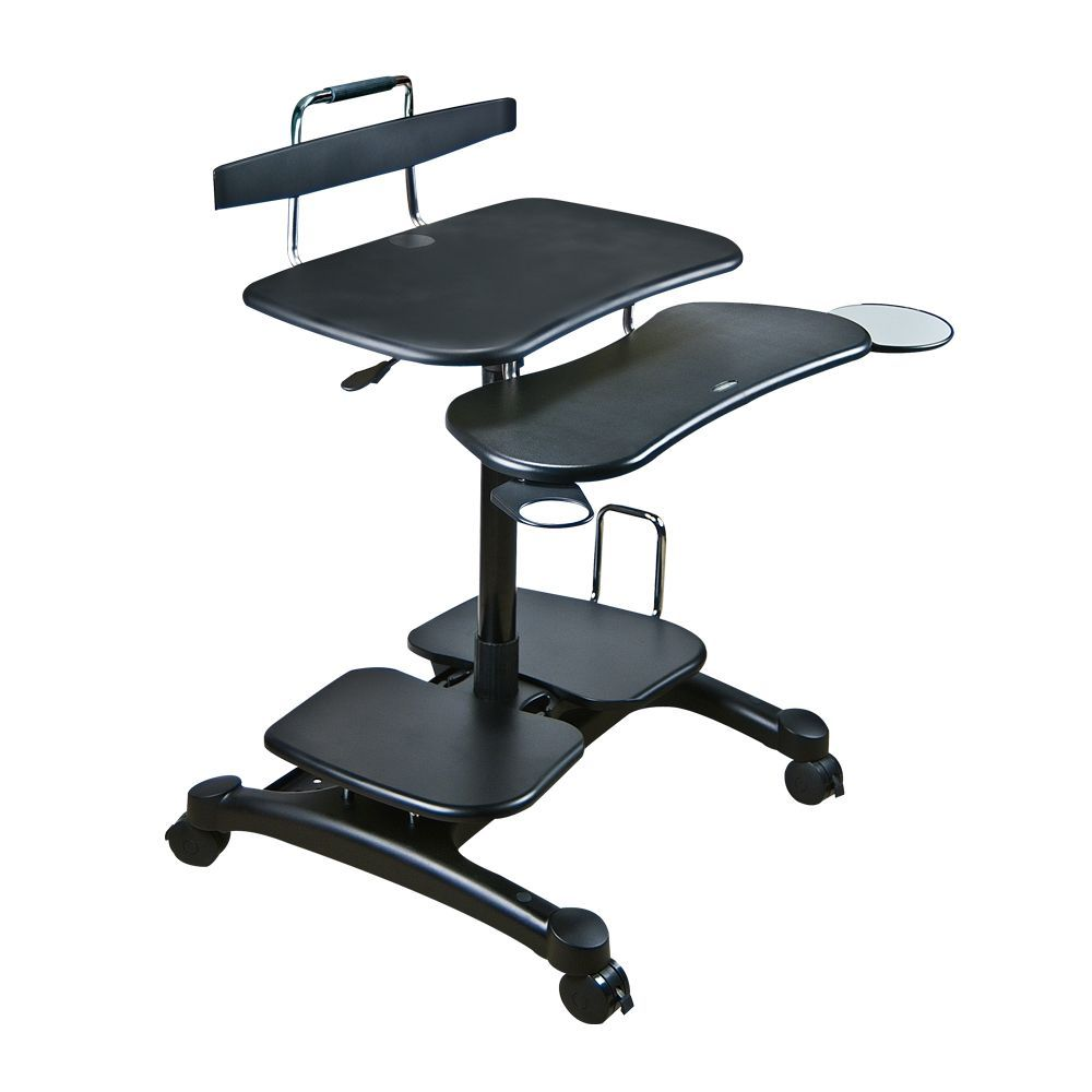 Cotytech ergonomic sit stand computer desk overstock for Kneeling chair vs standing desk