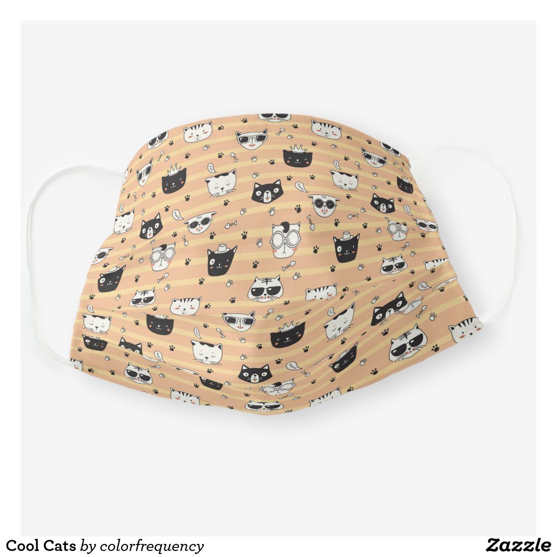 Cool Cats Cloth Face Mask Zazzle Com In 2020 Cool Cats Face Mask Mask For Kids