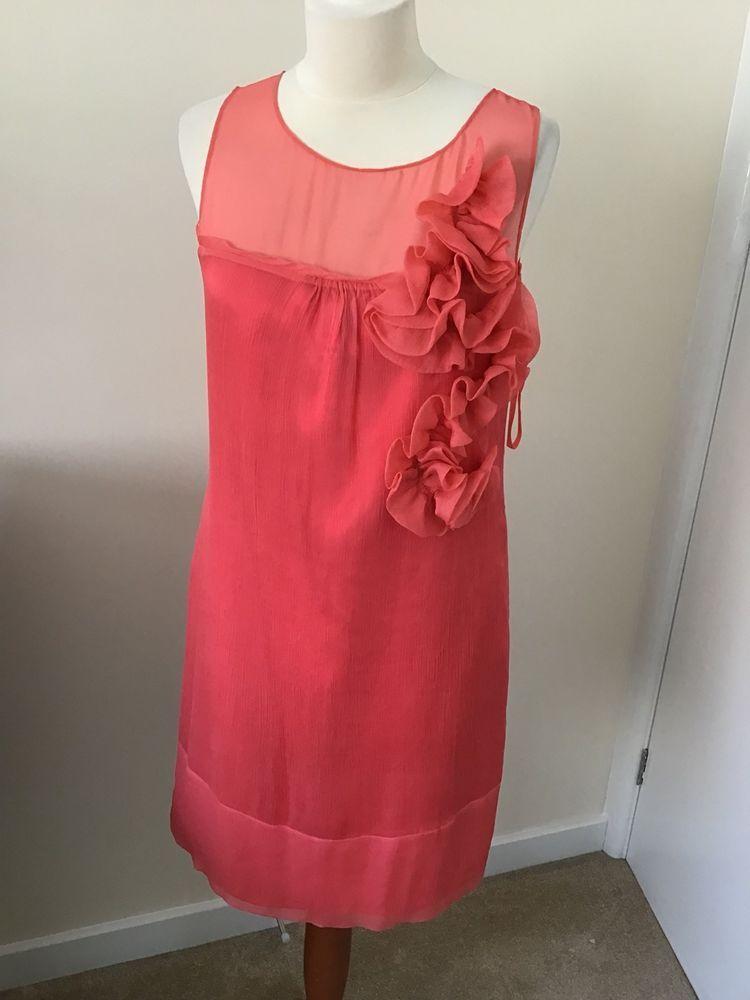 Coral Silk Ruffle Corsage Shift Party Dress 12 Kookai  fashion  clothing   shoes  accessories  womensclothing  dresses (ebay link) 7e9de2b33