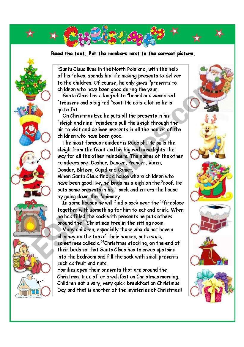 Read Match Complete 2 Pages Christmas Worksheets Christmas Teaching Worksheets Christmas comprehension worksheets 5th