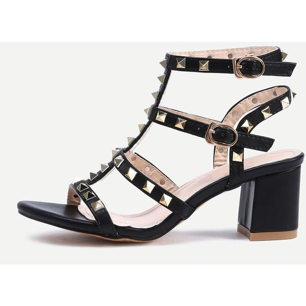 Black Metal Decorated Buckle Strap Chunky Sandals (1.985 RUB) ❤ liked on  Polyvore featuring