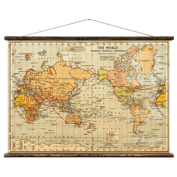The World - Pull Down Wall Map | Wall maps, Walls and Bedrooms