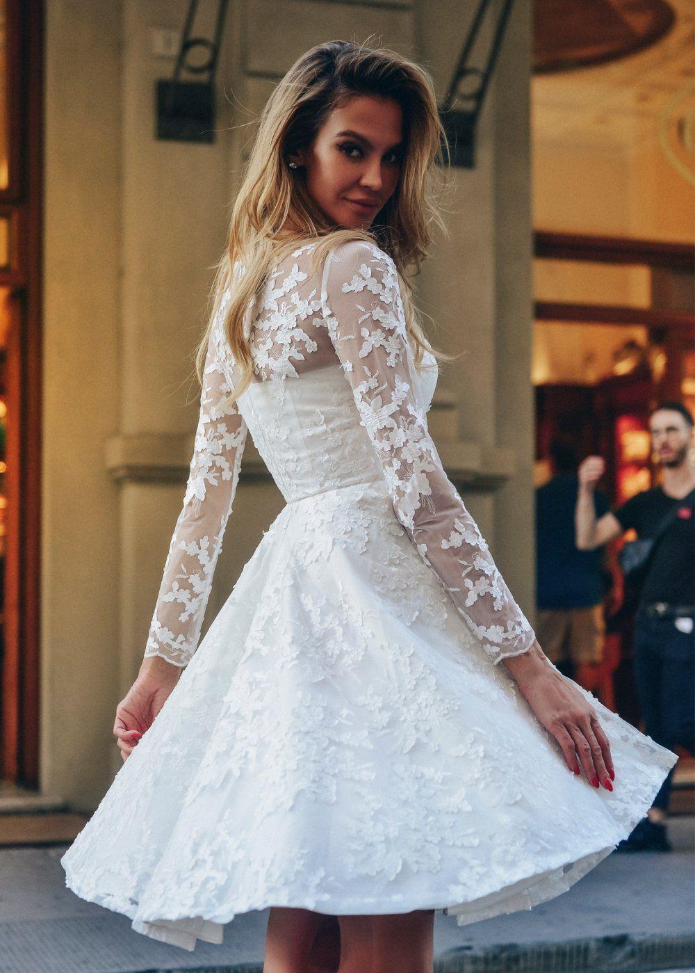 1f1cad3580d Короткое белое платье из кружева с юбкой солнце-клеш и длинным рукавом  NN047 купить в интернет-магазине TobeBride
