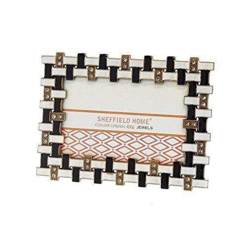 Rhinestone Jeweled Gold Black White Enamel 4 x 6 Picture Frame ...