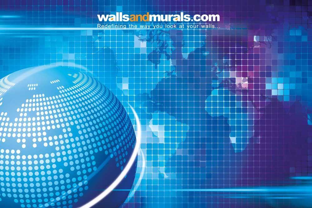Corporate Blue Digital World Map Wallpaper World Map