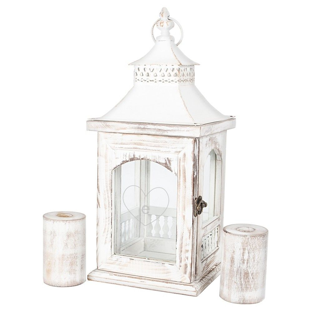 Monogram Heart Rustic Unity Lantern with 2 Candle Holders - E, Stone ...