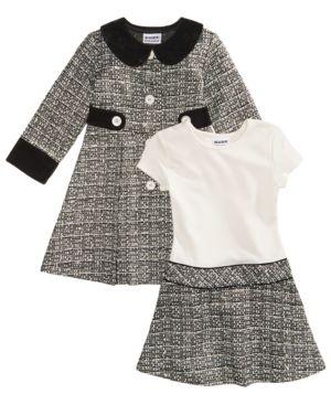 f768f7aa66f2 Blueberi Boulevard 2-Pc. Tweed Coat and Dress Set, Toddler Girls (2T-5T) -  Black 4T
