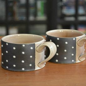 Ceramic Espresso Cup: Black with White Dots/ tan glaze