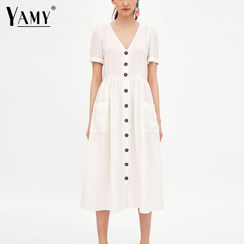 2428191bca6 korean button white linen dress women v neck short sleeve casual midi dress  Summer pocket loose office dress robe femme ete 2018