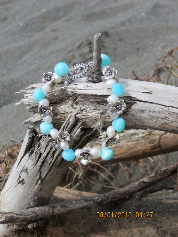 Peruvian Opal and Fresh Water pearl bracelet with by bling33, $40.00