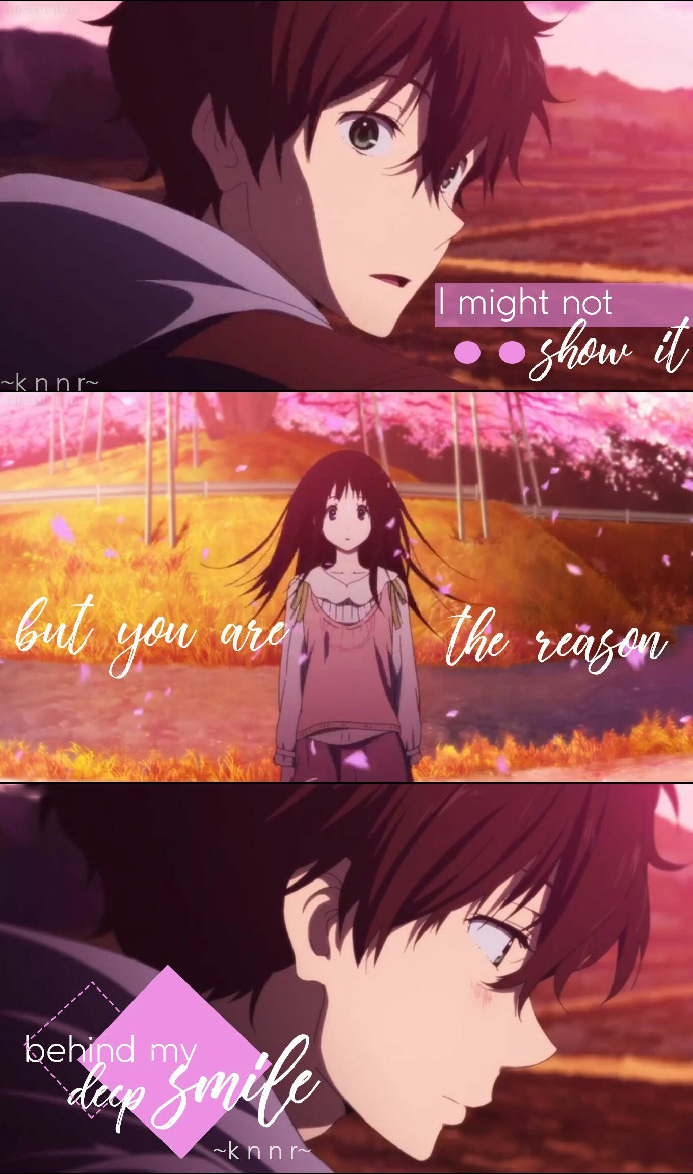 Anime series image by Reina Hyouka, Anime love quotes, Anime