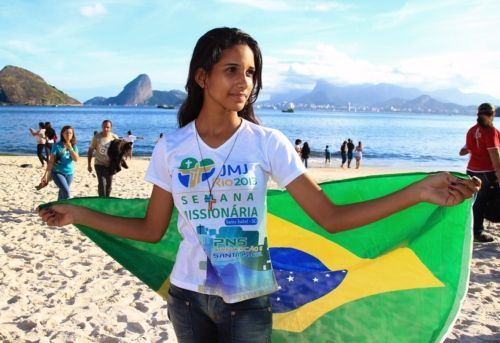 File photo of young woman taking part in World Youth Day countdown event in Rio de Janeiro