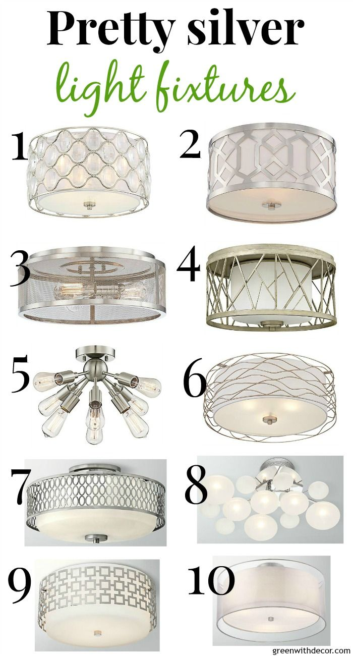 10 pretty, close to the ceiling silver light fixtures ...