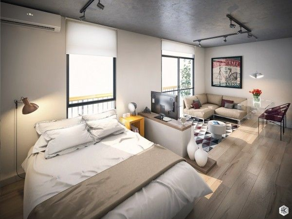 These modern apartments offer creative ways to organize and decorate within a small studio layout