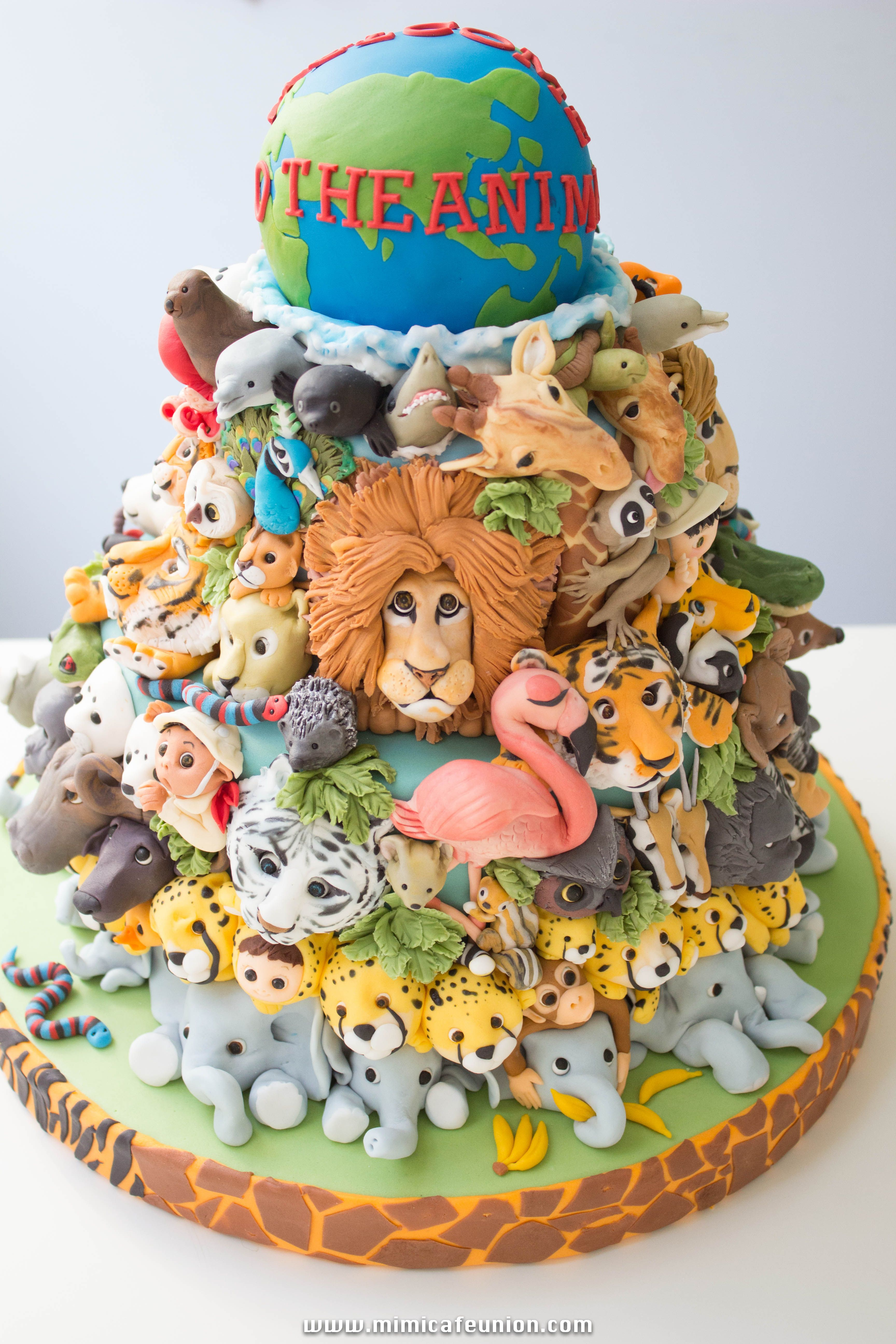 Tiered Cake Absolutely Lost Under Scads Of Detailed Jungle Animals By Sweetface Cakes Franklin Tn