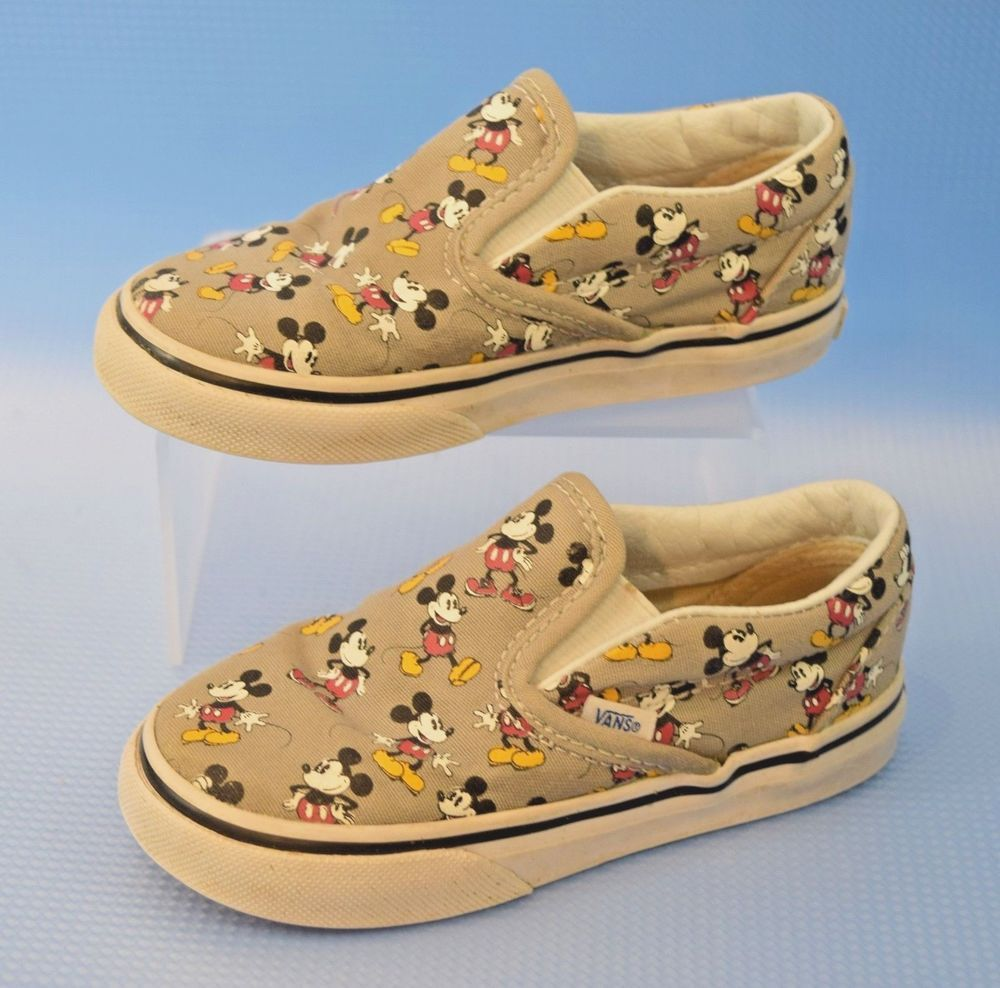 1d4f629e89 Kids Vans Classic Disney Mickey Mouse Gray Slip On Sneakers Toddler Sz 8  721461  VANS  WalkingShoes