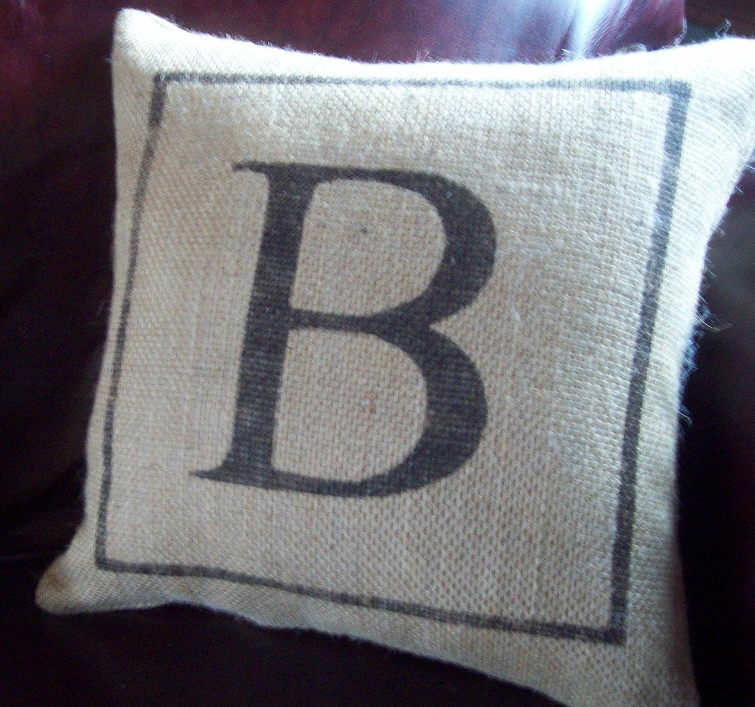 Burlap Throw Pillows Etsy : Burlap Initial Pillow / Custom Pillow / Monogram Pillow / Wedding or Anniversary Gift Pillow ...
