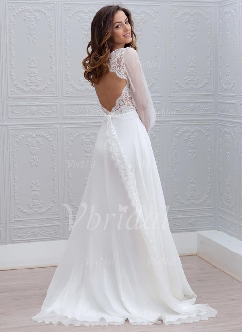Bröllopsklänningar - $161.26 - A-linjeformat V-ringning Sweep släp Chiffong Bröllopsklänning med Spets (0025088769)