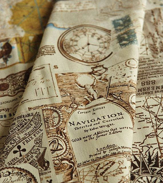 Cotton linen fabric cloth diy cloth art manual by jolintsai 720 map of the antique world half yard gumiabroncs Gallery
