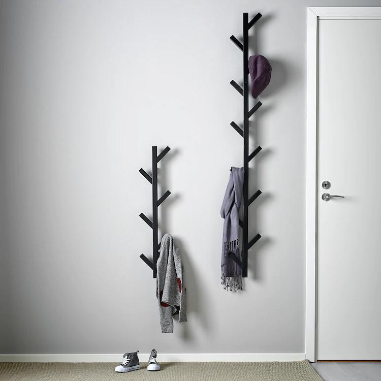 Tjusig Hanger Black 30 Ikea In 2021 Coat Rack Wall Wall Hanger Wall Mounted Coat Rack