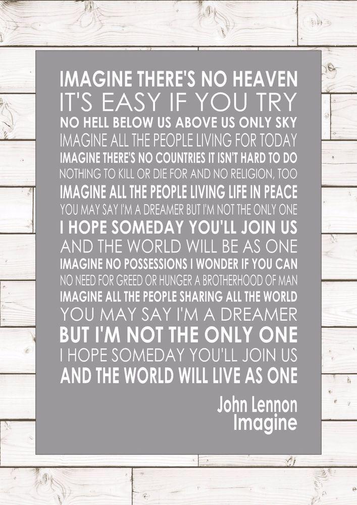 Indian South Asian Tapestries Home Garden Imagine John Lennon Word Typography Words Song Lyric Lyrics Music Wall
