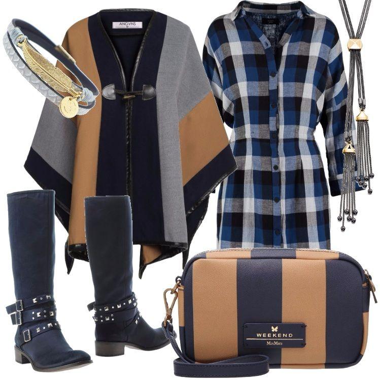 Outfit dal sapore etnico.Vestito a quadri, nei toni del blu, nero e bianco con abbottonatura sul davanti. Mantella navy, grigia, e bruciato. Stivale blu, borsa a tracolla rigata, bracciale e collana coordinati.