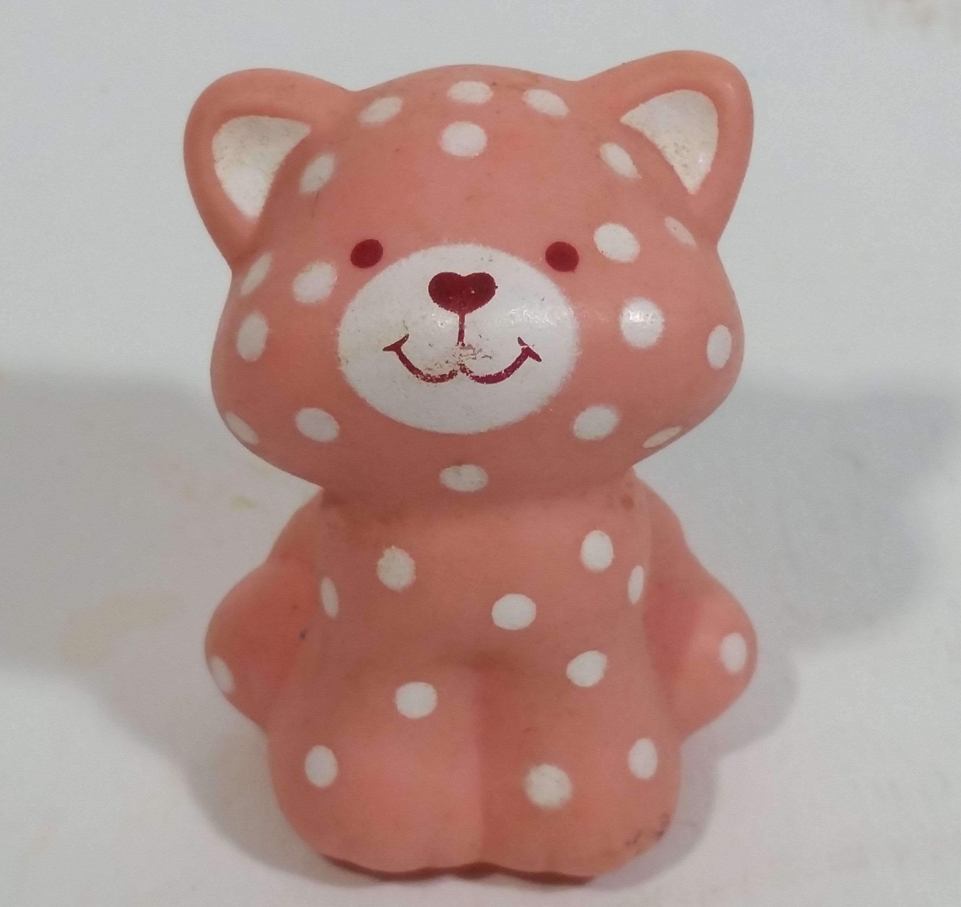 Vintage 1982 A G C Strawberry Shortcake White Spotted Pink Kitty Cat Hard Rubber Toy Figure Strawberry Shortcake Cartoon Kitty Strawberry Shortcake