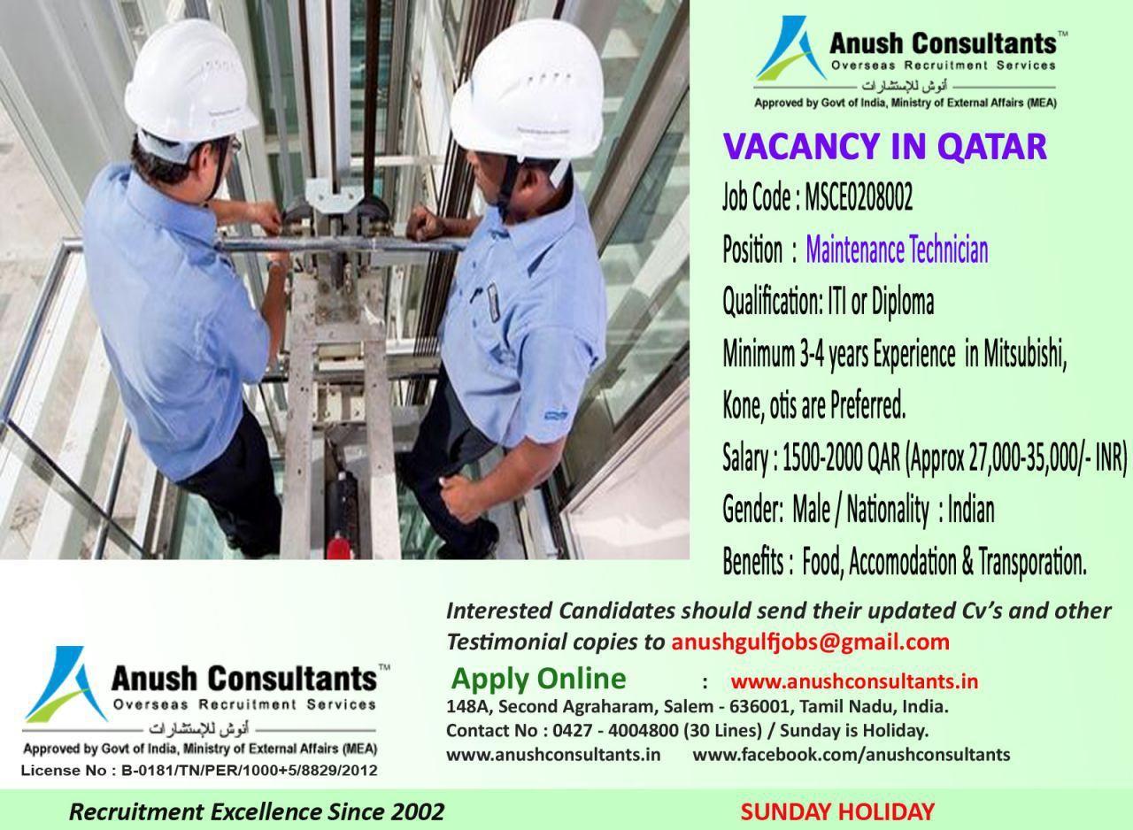 Required Maintenance technician for Qatar salary 27000