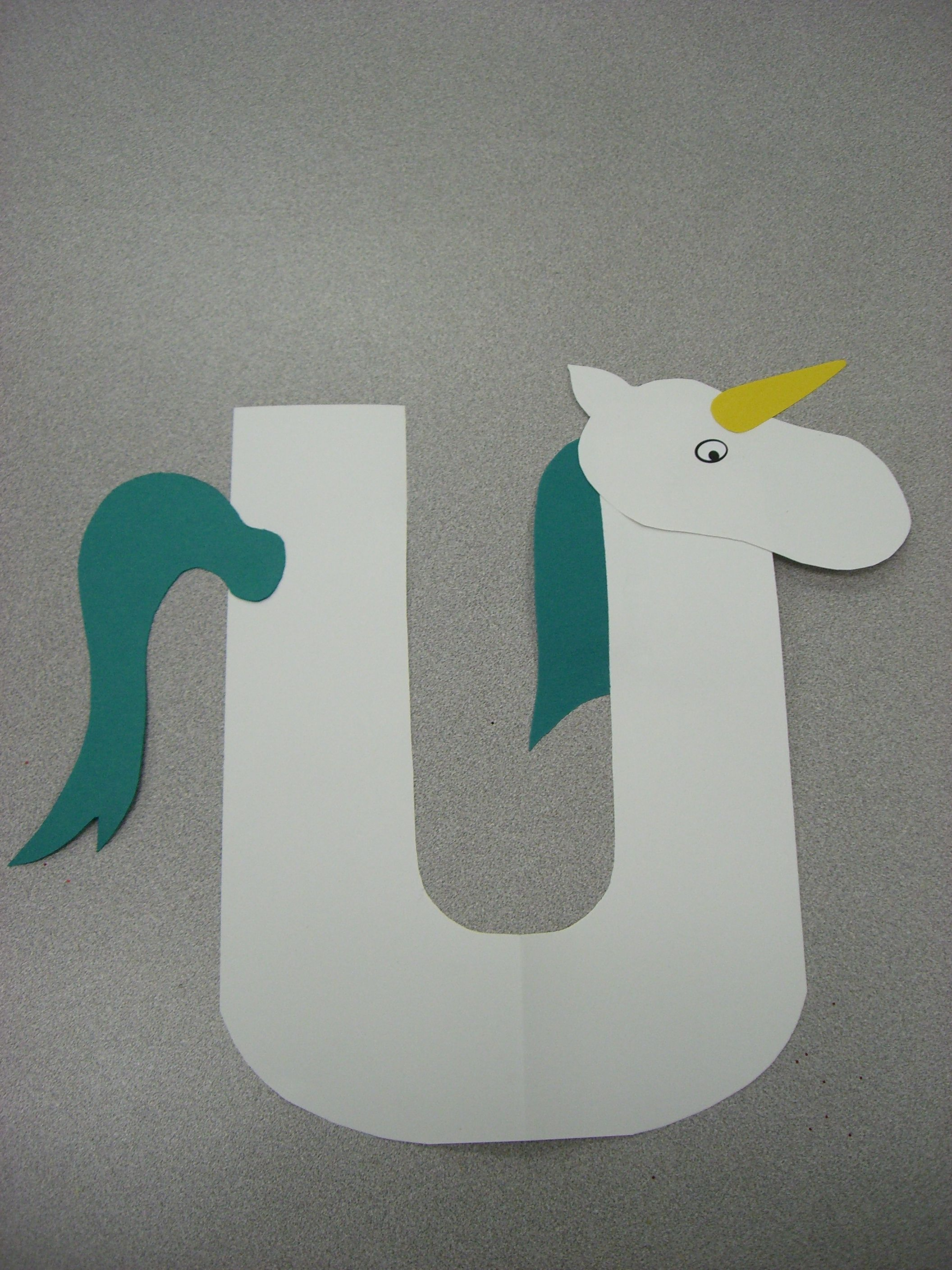 U Is For Unicorn Preschool Alphabet Craft