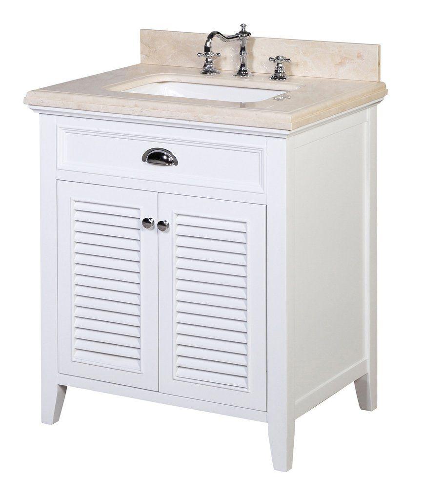 Savannah 30-inch Vanity (Crema Marfil/White)   chats Savannah ...