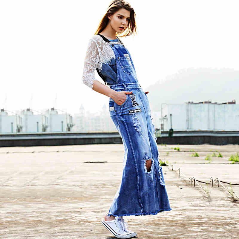 Shoulder-Straps Skirt Casual Summer Dress Chic Denim Skirt