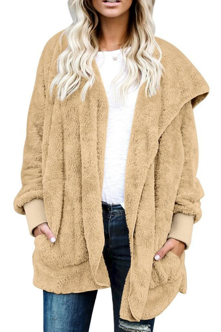 It S Bad Teppich Choose Tan Snuggle Fleece Oversized Hooded Cardigan In 2019 Fashion
