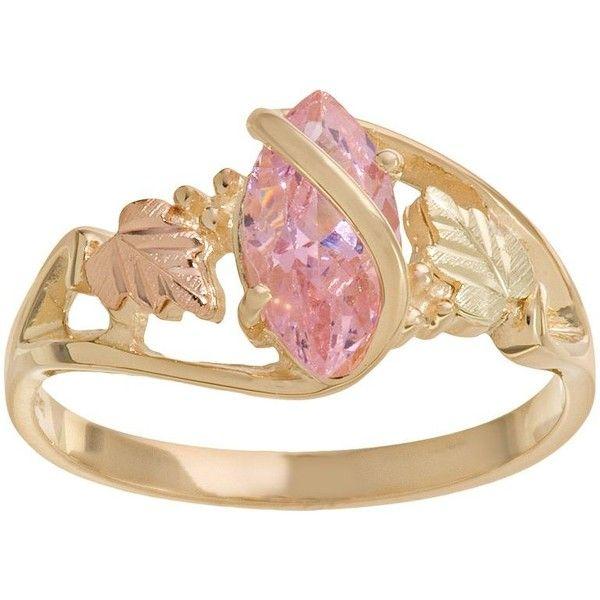 Black Hills Gold Tri Tone Pink Cubic Zirconia Leaf Ring 11 415