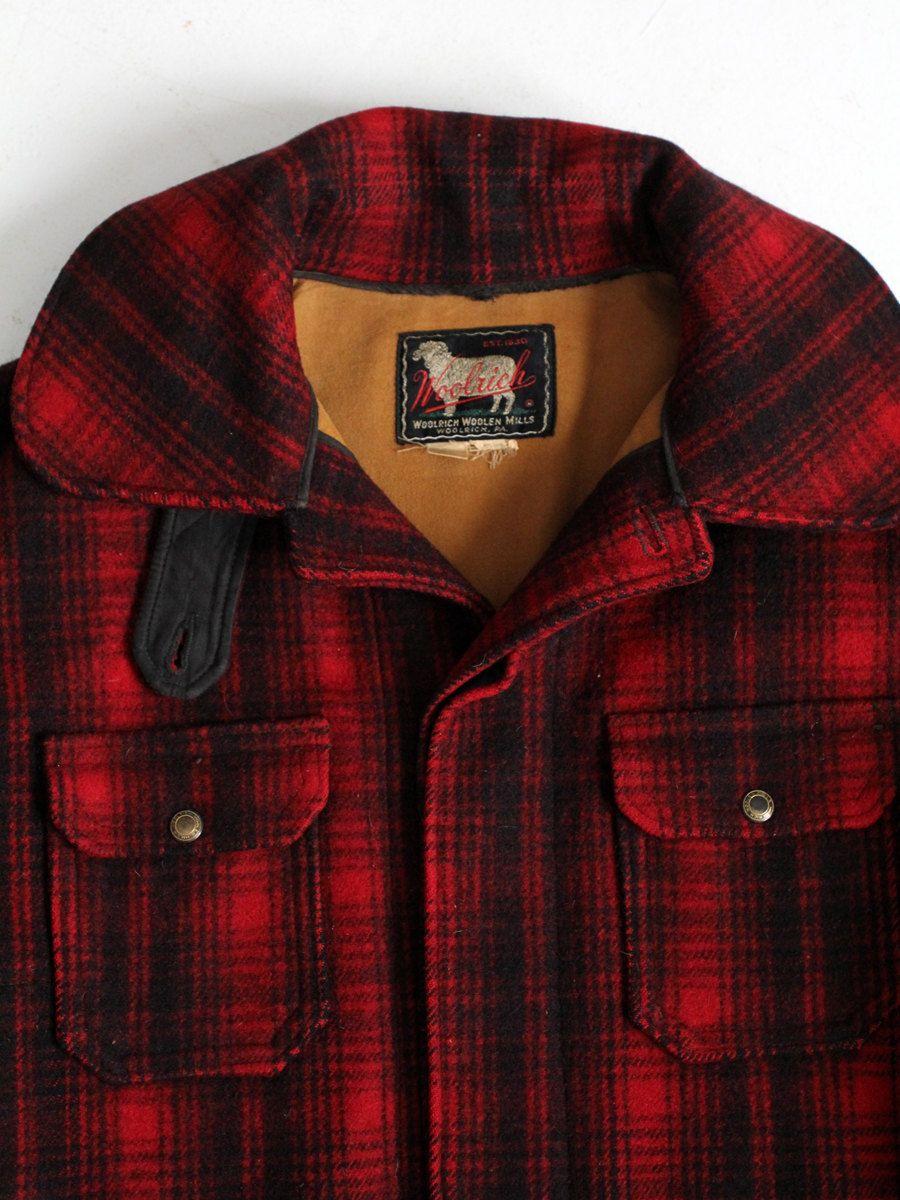 3ca7b064d2ac1 1960s Woolrich wool coat, vintage men's red plaid hunting jacket ...