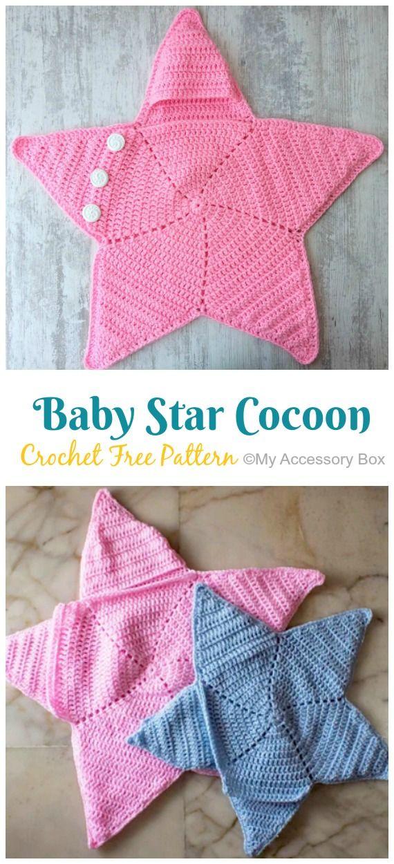 Baby Star Cocoon Crochet Free Pattern [Video] #crochetbabycocoon