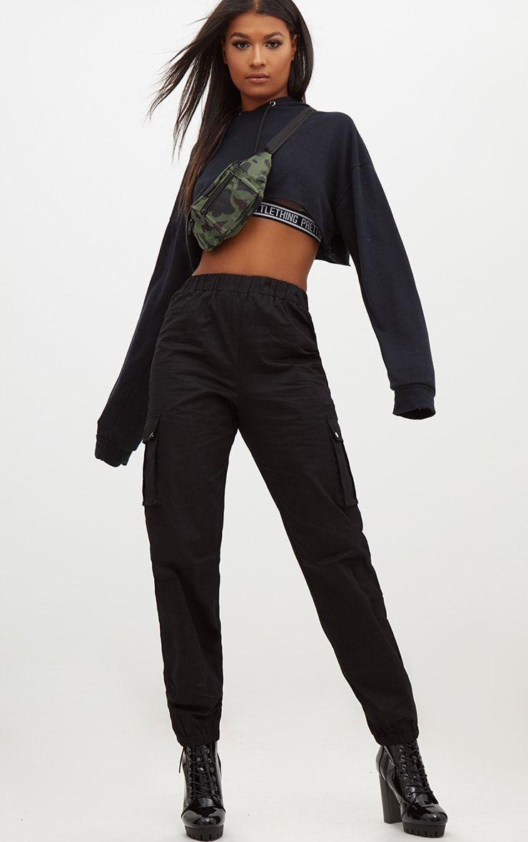d66d08972b4f5 Black Pocket Detail Cargo Pants in 2019