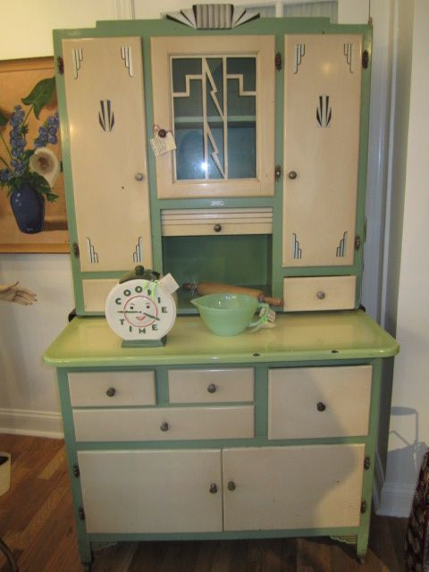 Art Deco Kitchen Cabinet With Sliding Porcelain Counter