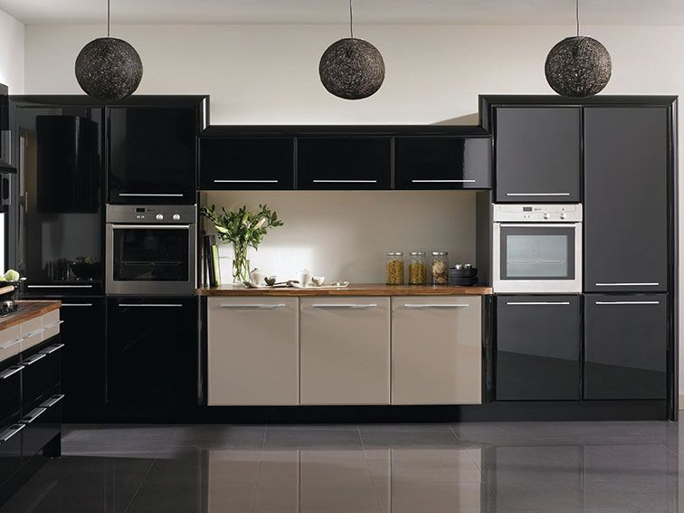 black dirty white kitchen area layout - http://www