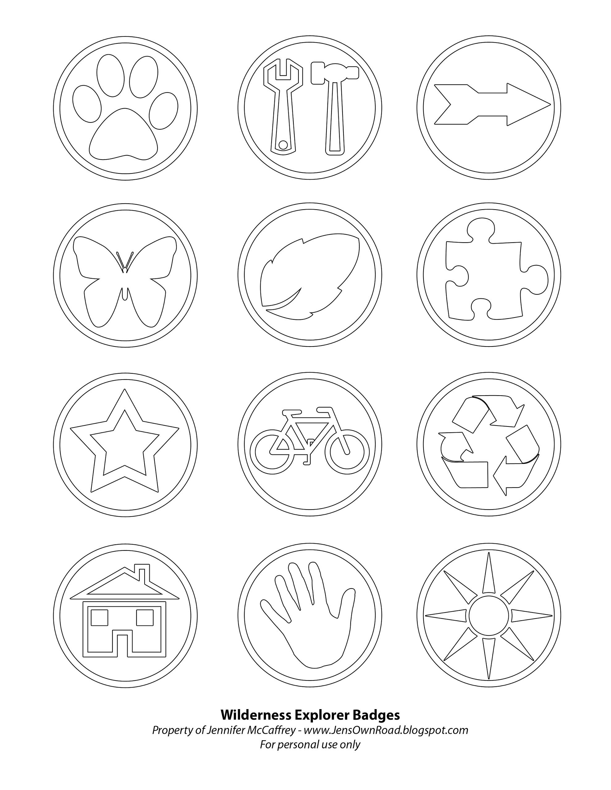 wilderness explorer badge printable