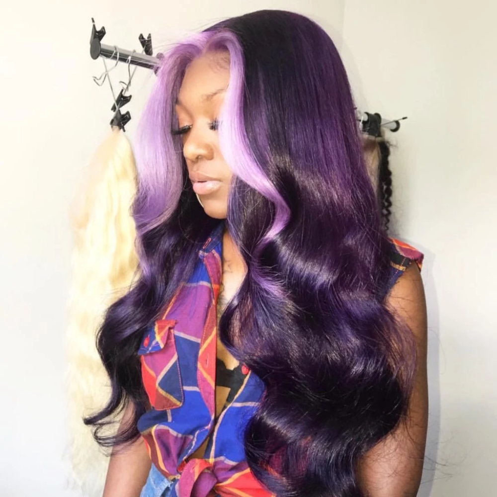 Peruvian Hair Dark Purple With Light Purple Color Lace Front Wig Hair Styles Wig Hairstyles Weave Hairstyles
