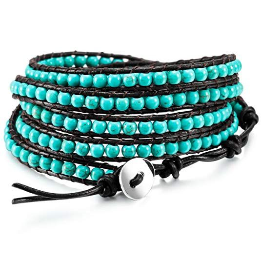 Alloy Genuine Leather Bracelet Bangle Cuff Simulated Stone Rope Bead 5 Wrap Adjustable