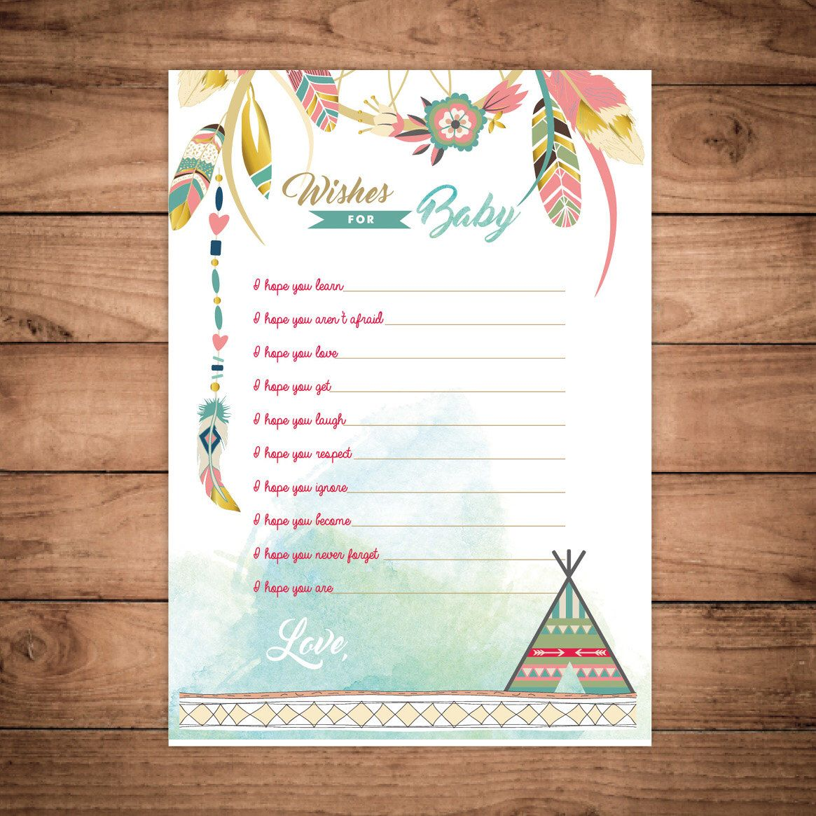 Dreamcatcher Boho Baby Shower Printable Wishes For Coaca Invitation Feathers Bohemian Dream Catcher Watercolor By