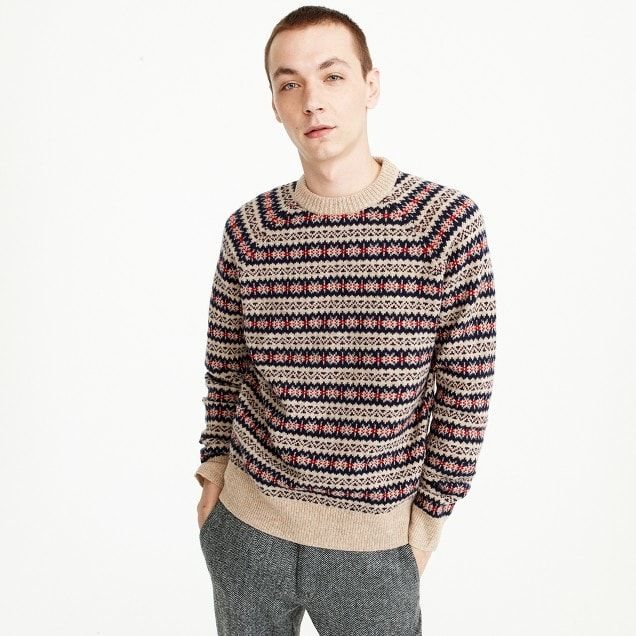 Lambswool Fair Isle crewneck sweater in camel | clothes/fashion ...