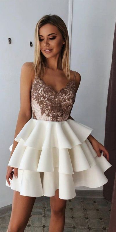 Beaded Spaghetti Straps Short Homecoming Dress Cute Girls Cocktail Party Gowns Satin Lace Short School Dance Dresses Sweet 16th Dresses from PeachGirlDress #schooldancedresses