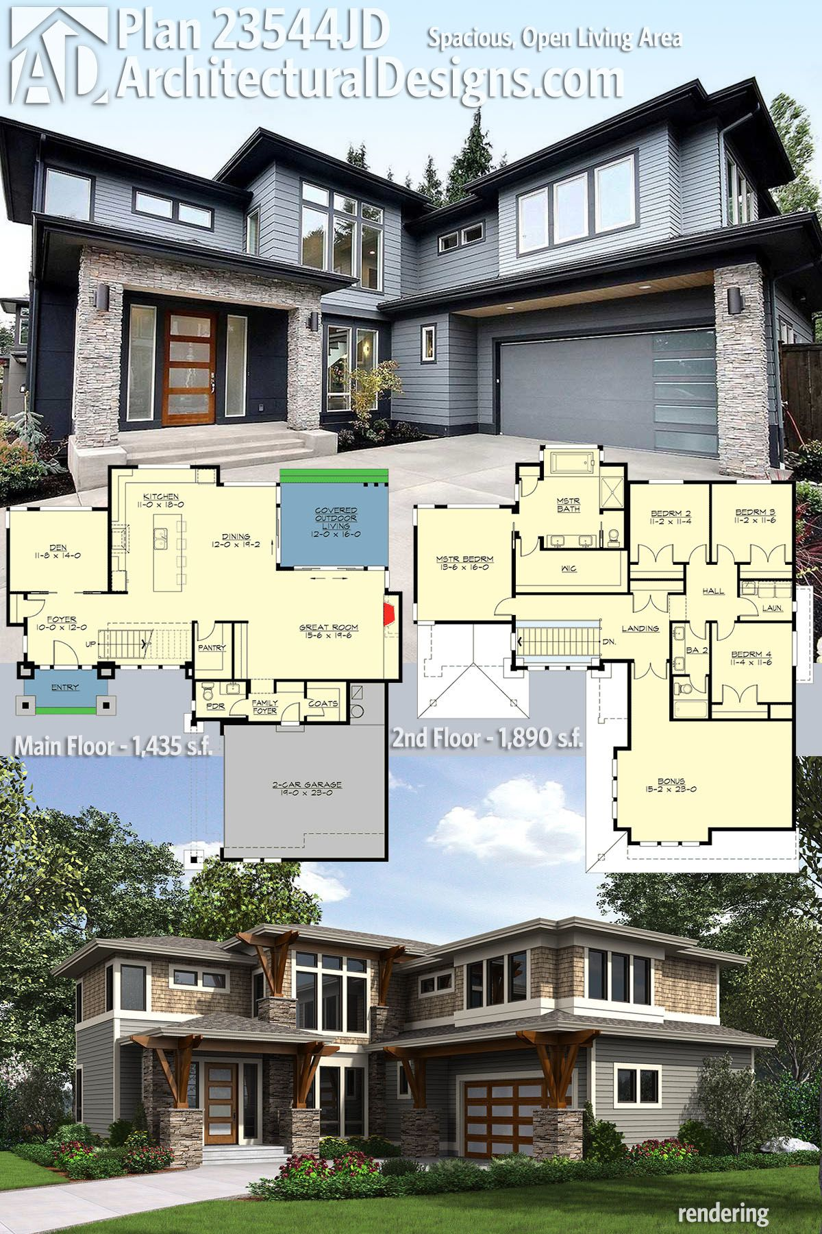 Architectural Designs Modern House Plan 23544JD comes