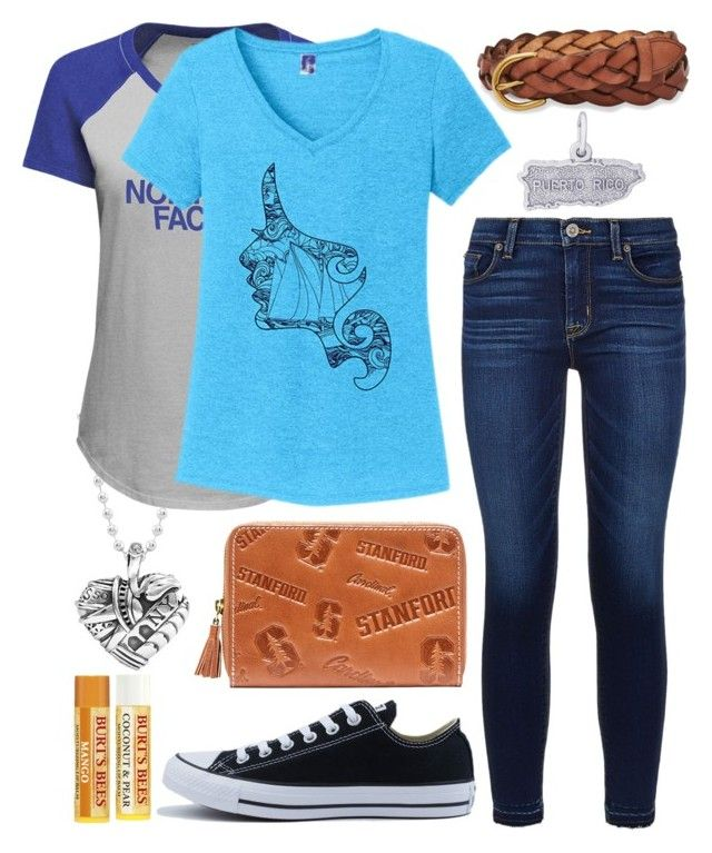 """""""Nina Rosario"""" by avenueg ❤ liked on Polyvore featuring Lagos, The North Face, TKO Tees, Hudson, FOSSIL, Converse and Rembrandt Charms"""