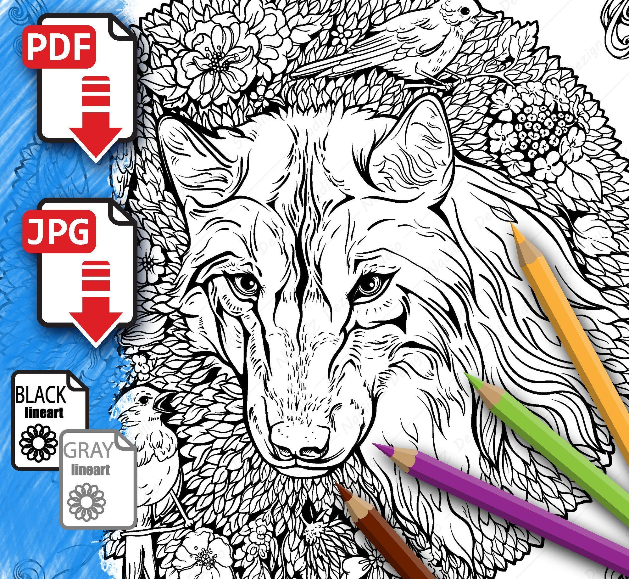Coloring page with a wolf and birds, PDF Coloring page ...