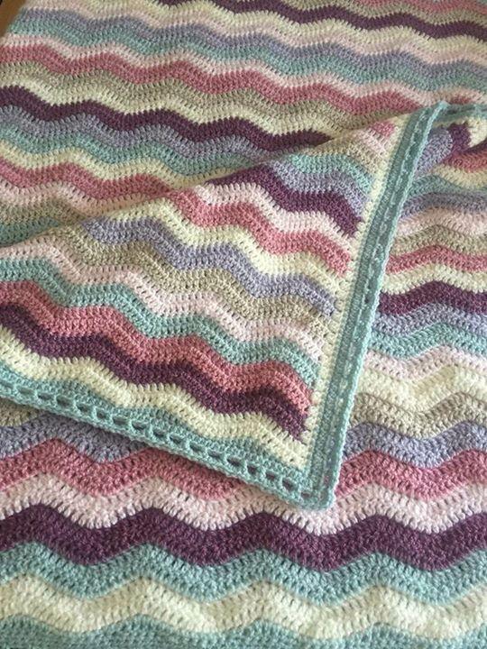 Stylecraft Parchment Grape Cream Duck Egg Parma Violet Soft Peach And Pale Rose A Crochet Border Patterns Crochet Ripple Blanket Crochet Blanket Colors