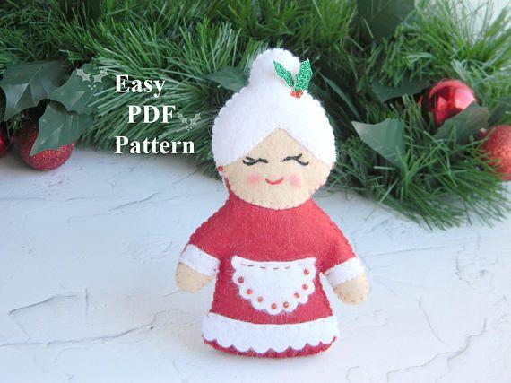 Mrs Claus Pattern Felt christmas ornament pattern PDF Plush   Felt ...
